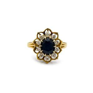 14k Yellow Gold Sapphire and Diamond Flower Ring